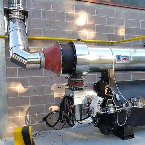 Impianto aspirazione e filtrazione COV con postcombustore