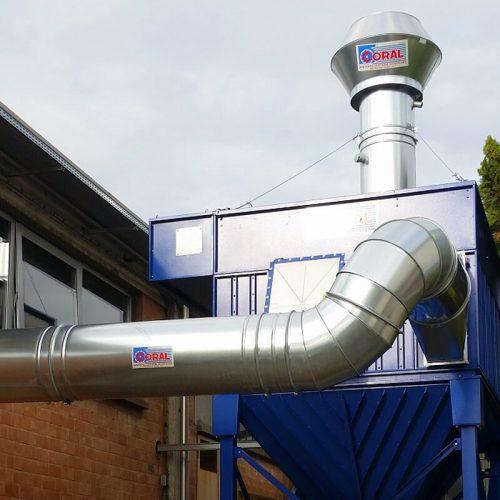 Impianto aspirazione e filtrazione polveri di fibra di carbonio