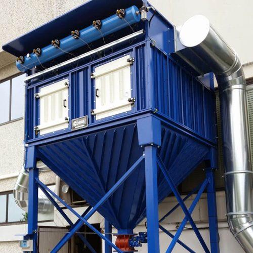 Impianto aspirazione e filtrazione polveri di stampi per fibra di carbonio