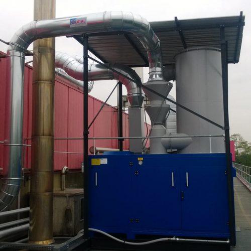 Impianto aspirazione e filtrazioni polveri idrofobe
