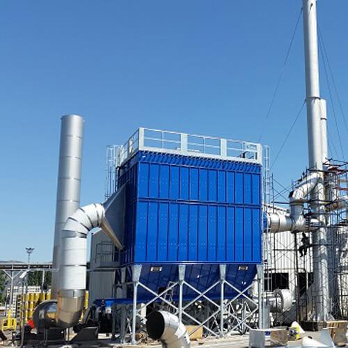 Impianto aspirazione filtrazione fumi da caldaia a carbone