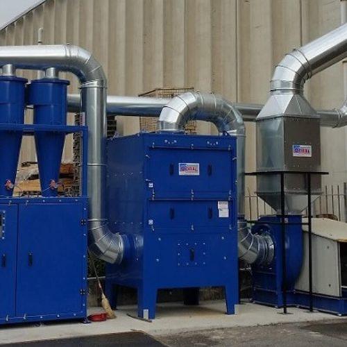 Impianto aspirazione filtrazione trucioli di alluminio con nebulizzazioni di olio