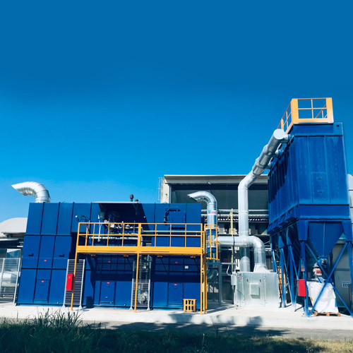 Impianto aspirazione e filtrazione COV con postcombustore rigenerativo